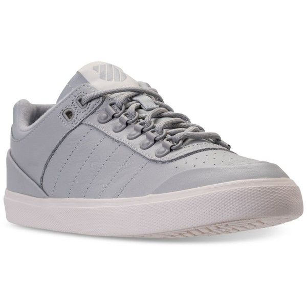 K-Swiss Women's GStaad Neu Sleek Casual Sneakers from Finish Line ($80) ❤ liked on Polyvore featuring shoes, sneakers, k swiss footwear, k swiss trainers, leather upper shoes, k swiss shoes and k swiss sneakers