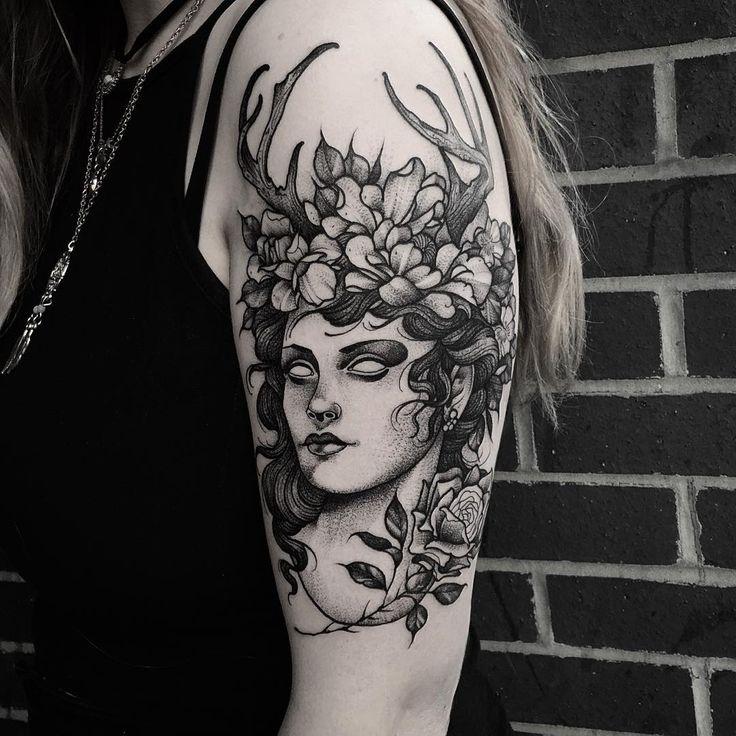 Goddess of the hunt. Thanks Jess! Done at @sbldnttt  #tattoo #etching #fineline…