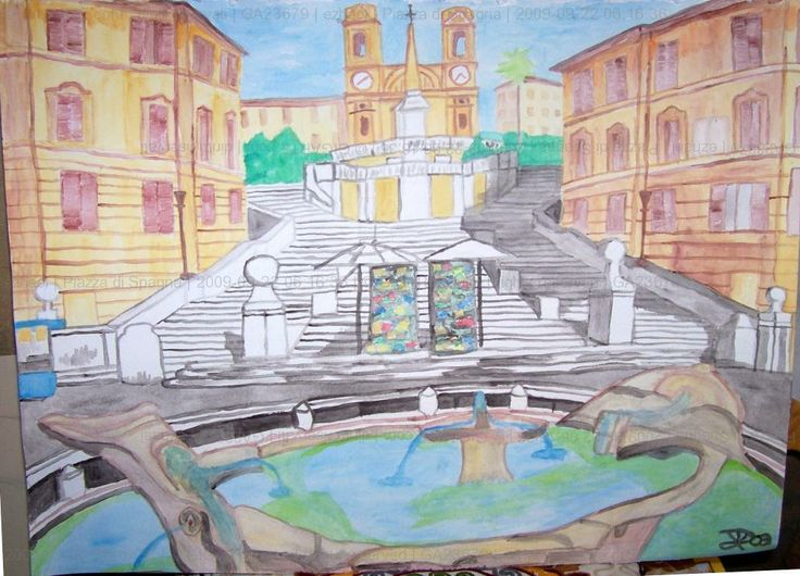 Spanish step, water color on paper