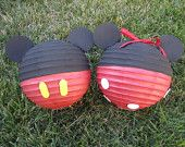 TINY Mickey and Minnie Mouse Inspired Red Paper Lanterns 4 PACK (2 of each)