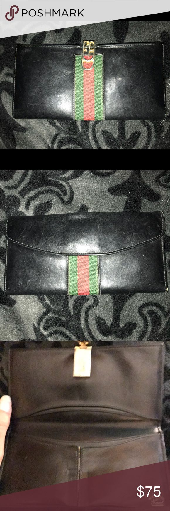 SUPER Vintage Gucci slim wallet This has bee used and is in the best shape possible for being a vintage item! Has markings but not bad for its years on the market and it is very old. Many pockets! And coin holder in the back snaps shut. The clasp in the front is for opening and closing. Enjoy this slim wallet! It fits into nearly every bag! Gucci Bags Wallets