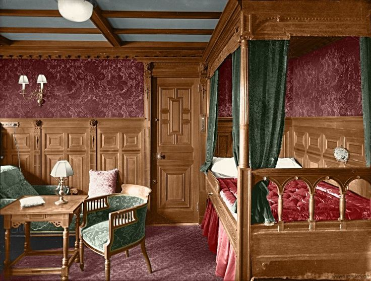 A colorized photo of one of the RMS Titanic's first class staterooms.    I'm gonna guess that its cabin B-57