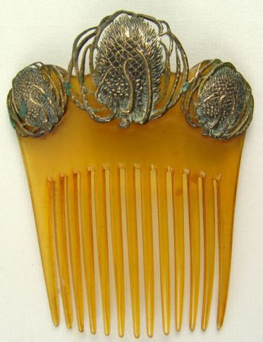 ❤ -Art Nouveau Peacocks Hair Comb. Carved Tortoiseshell, Gold and Silver. Europe. Circa 1905.
