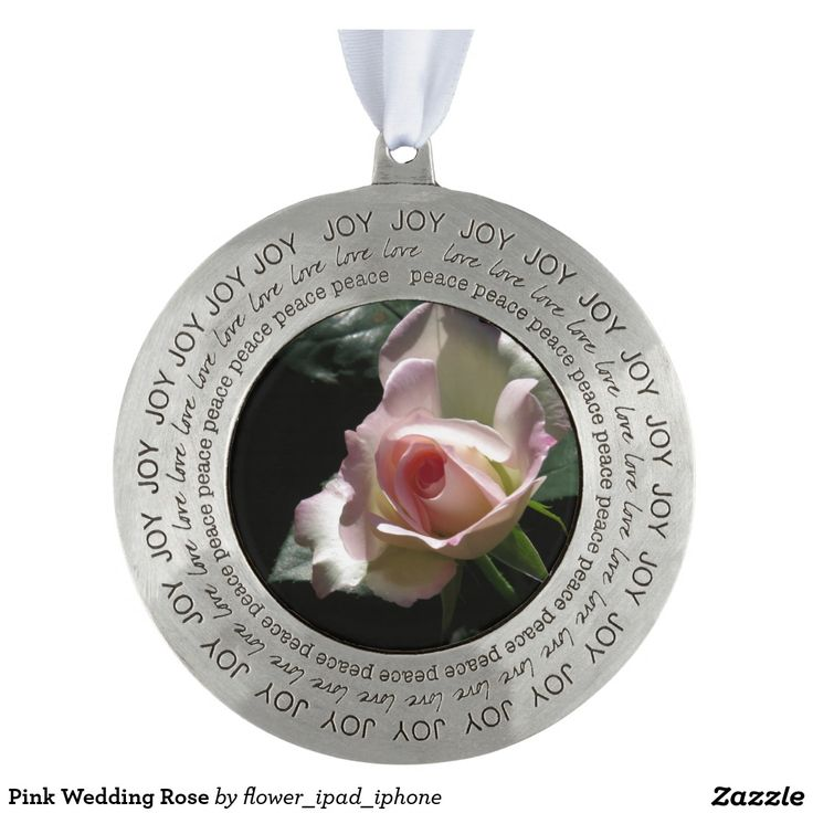 Pink Wedding Rose Round Pewter Christmas Ornament