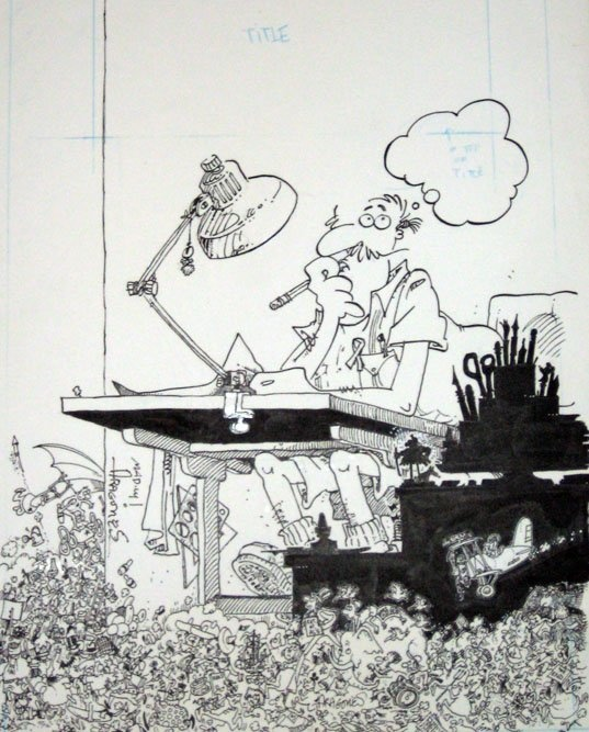 Sergio Aragones ...the fastest cartoonist in the world, and the brilliant pen of Mad Magazine's Marginals  ...this is the original art for the cover of his book, Louder Than Words