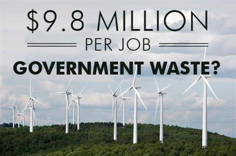 "Part of Obama's ""stimulus"" plan spent $9 billion in solar and wind energy projects and created a tawdry 910 ""direct"" jobs at $9.8 million PER job.  The media should be REPORTING on these numbers!"
