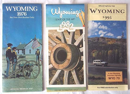 3 Vintage Wyoming Highway Maps from 1976 1982 and 1995 by aestexas, $5.00