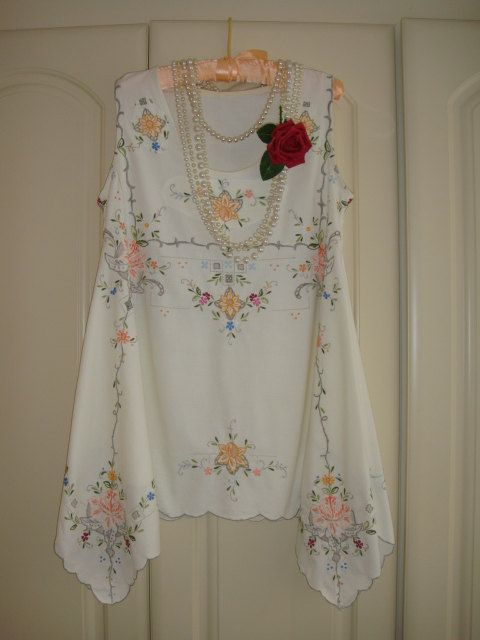 Vintage Ivory Cotton Cutwork Embroidered Draped Top Tunic Blouse Trapeze Oversized Rustic In Oranges YellowGrey Green