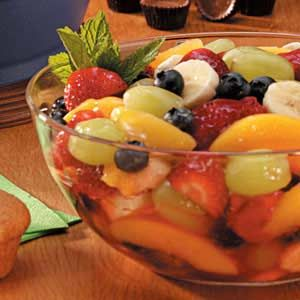 Five-Fruit Salad Recipe  I use fresh strawberries rather than frozen.  So quick and delicious!