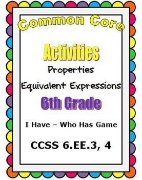 Common Core Math 6th Grade Equivalent Expressions (6.EE.3 ...