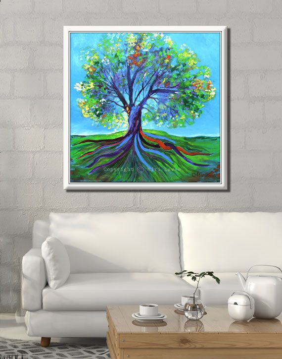 Canvas painting by Miri Lavee. A tree painting is wonderful to have at home, tree is the connection of earthly & spirituality, it symbolize strength, stability, growth & prosperity. The tree gives life, a shelter, food. Sometimes it seems as if it give pure real love. To see the painting in my Etsy shop and get your special tree painting click on the photo. #Canvaspainting #Paintingtree #treepainting #Contemporaryart #Bluepainting #Treeart #tree #wallart #walldecor #homedecor #nature…