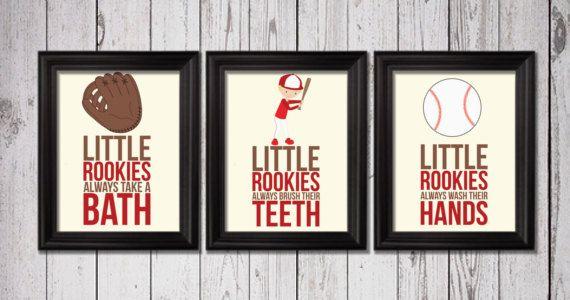 Little rookies baseball players Art Little by RainbowsLollipopsArt, $18.00