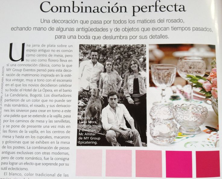 "MY Group Eventos, una ""Combinación Perfecta"" en la Revista Fucsia Novias."
