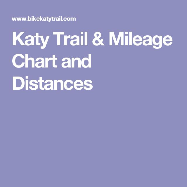 Katy Trail & Mileage Chart and Distances