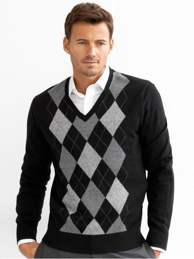 Men's Sweaters: Banana Republic Argyle V-Neck Sweater