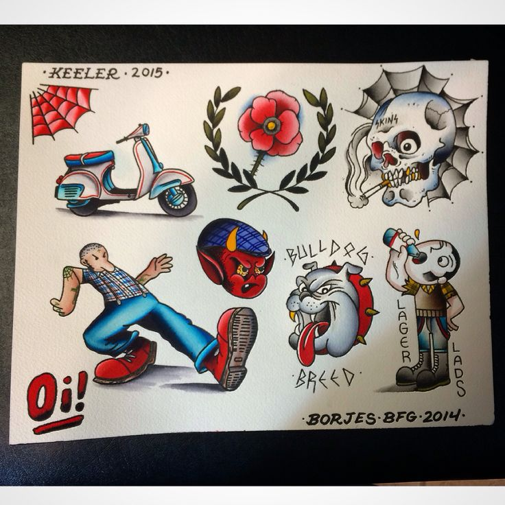 Split #flash sheet by myself and #georgekeeler #skinhead #tattoo #tattoos #bootboys