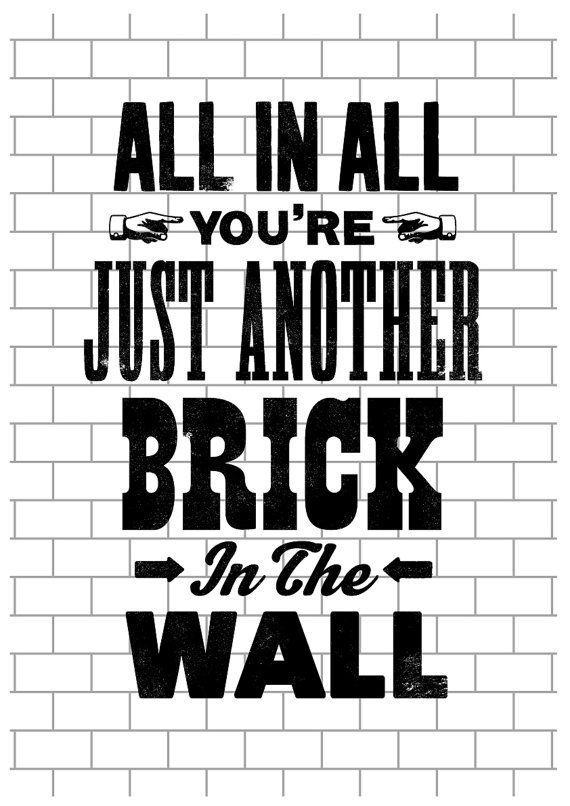 Pink Floyd song lyric art Pink Floyd art print by TheIndoorType