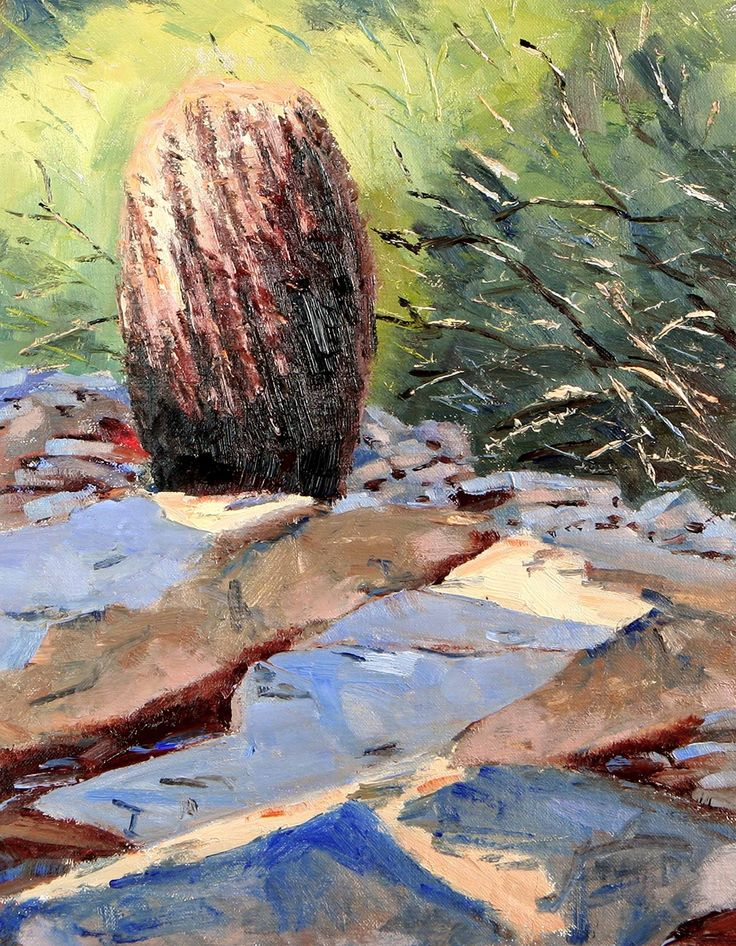 """Oil Painting, Morning Light, southwestern landscape, impressionistic. rocks, sonoran desert, barrel cactus. Oil on Belgian linen mounted on a panel. Painted from a smaller study. This is an original piece of artwork. One of a kind. Painting is varnished for protection and signed. 16"""" X 12""""."""