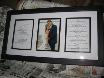Choose and frame your favorite wedding photo along with your typed or handwritte