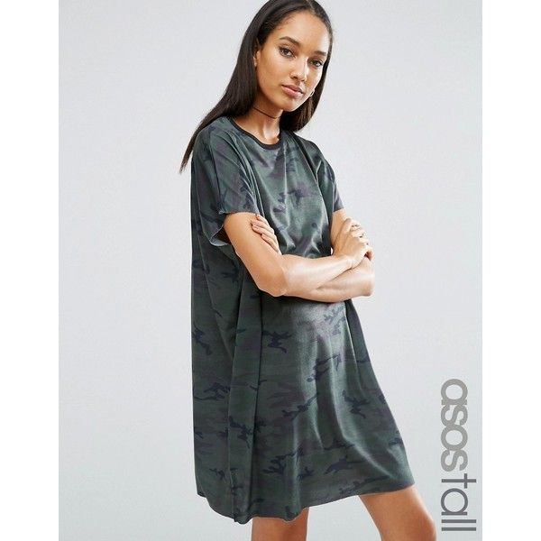 ASOS TALL Camo Slouch T-Shirt Dress (£25) ❤ liked on Polyvore featuring dresses, multi, camo dress, slouchy t shirt dress, high neckline dress, high neck dress and asos