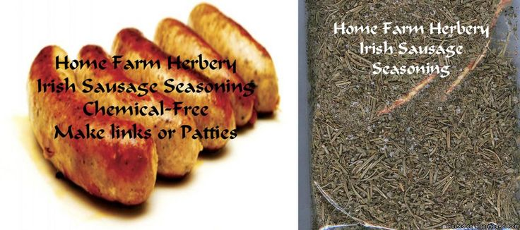 Irish Sausage Seasoning, Order now, FREE shipping, Buy 3 get 1 FREE Irish Sausage Seasoning by Home Farm Herbery includes a great recipe for the traditional Irish Sausage. This is the next best thing to going to Ireland! Hand blended organic gourmet ingredients: thyme, rosemary, basil, marjoram, kosher salt & black pepper This 3 oz. pkg. is enough to make 6 pounds of Traditional Irish Sausage. Price $8.99 pkg. or buy 3 and get 1 free. All orders come with a free recipe inside the label an...