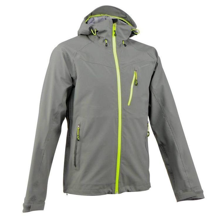 Jachetă Impermeabilă Drumeţie Forclaz 400 Gri/ Negru Bărbaţi