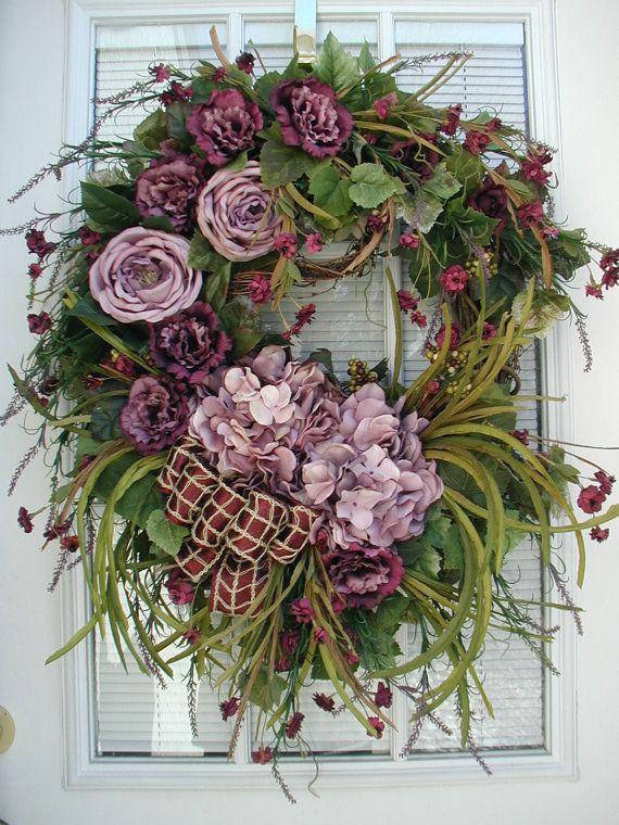 All Year Spring Summer Fall Autumn Winter After Christmas Mauve Burgundy Large Spray Roses Hydrangea Silk Floral Elegant Door Wreath