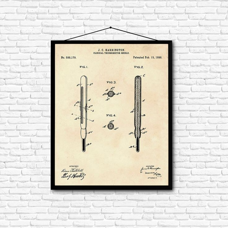 Clinical Thermometer Shield Patent Print- 1898 - Poster Wall art Illustration…