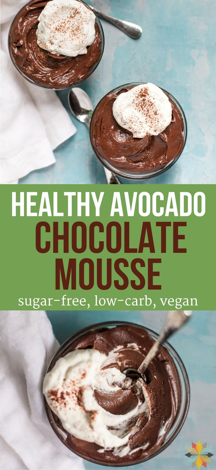 This Easy Healthy Chocolate Avocado Mousse or Chocolate Avocado Pudding is to die for! Unbelievable creaminess loaded with fiber and nutrients, plus it's low-carb, sugar-free & vegan!