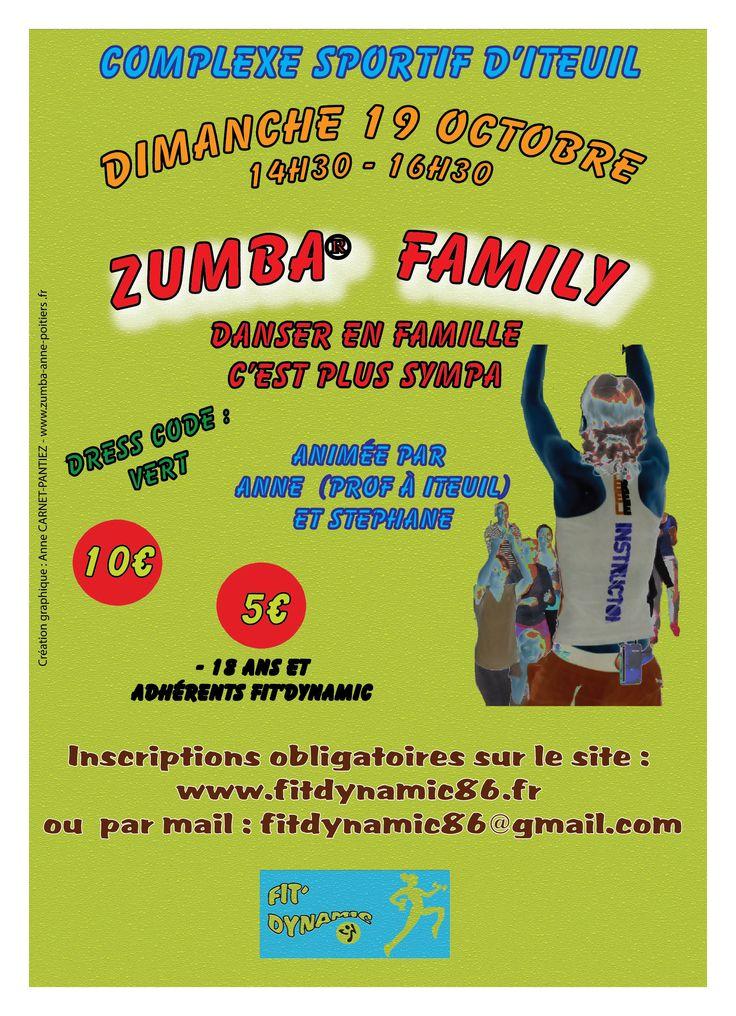 ZUMBA FAMILY A Iteuil le dimanche 19 Octobre de 14h30 à 16h30 animée par Moi-même et Stéphane.