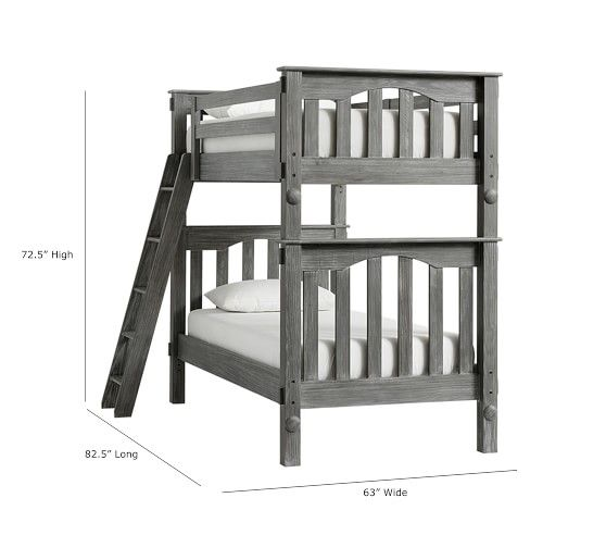 Kendall Twin Over Twin Bunk Bed Brushed Charcoal Bunk Beds