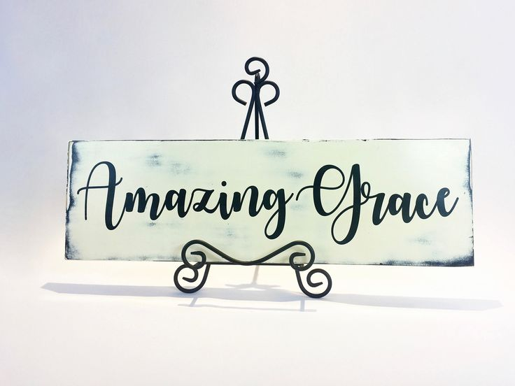 Amazing Grace - Rustic Wood Sign, Rustic Wall Decor, Shaby Chic Sign, Distressed Wood Sign, Christian Hymn Quote by BoughAndVine on Etsy