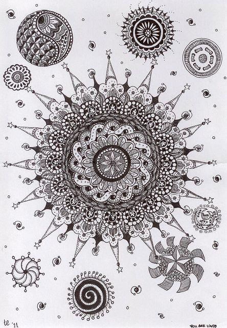 Mandala and satellites by Teri Emerson