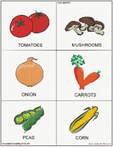 Printable food and fruit flashcards for teaching children.