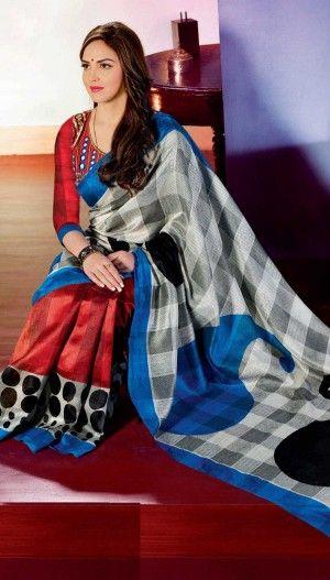 Isha Deol Off White,Red Bhagalpuri Silk Beautiful Printed Saree With Unstitch Blouse