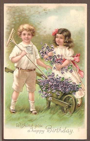 ... filling a wooden wheelbarrow with Pansies - Embossed - pm1900s - DB