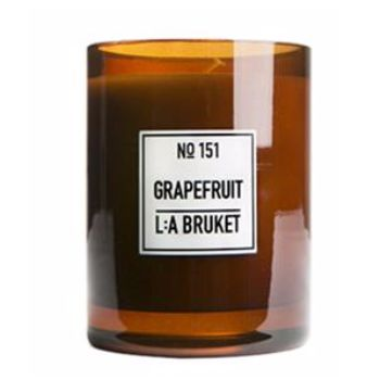 L:A Bruket Large Scented Candle: Grapefruit: The fragrance of L:Bruket's Grapefruit Candle is absolutely exquisite and it is difficult to express just how much we love it at The Scandinavian Shop. Grapefruit has distinct, positive properties which are all in evidence here - it refreshes the senses, boosts feelings of happiness and relaxation, is uplifting to the emotions and energizing too!  L:A BRUKET scented candles are all made from organic soy wax and hand poured into mouth blown glasses…