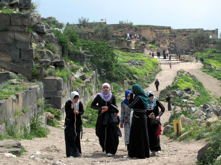 his group of young Jordanian women has come to visit the archaeological site of Umm Qays (Gadara). This city flourished under a long series of rulers from the 3rd century BC until 749 AD when it was destroyed by a devastating earthquake.