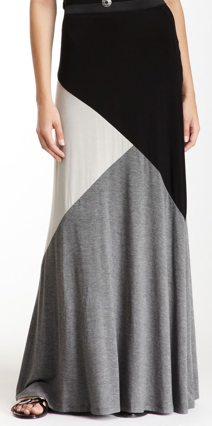 Colorblock Jersey Maxi Skirt