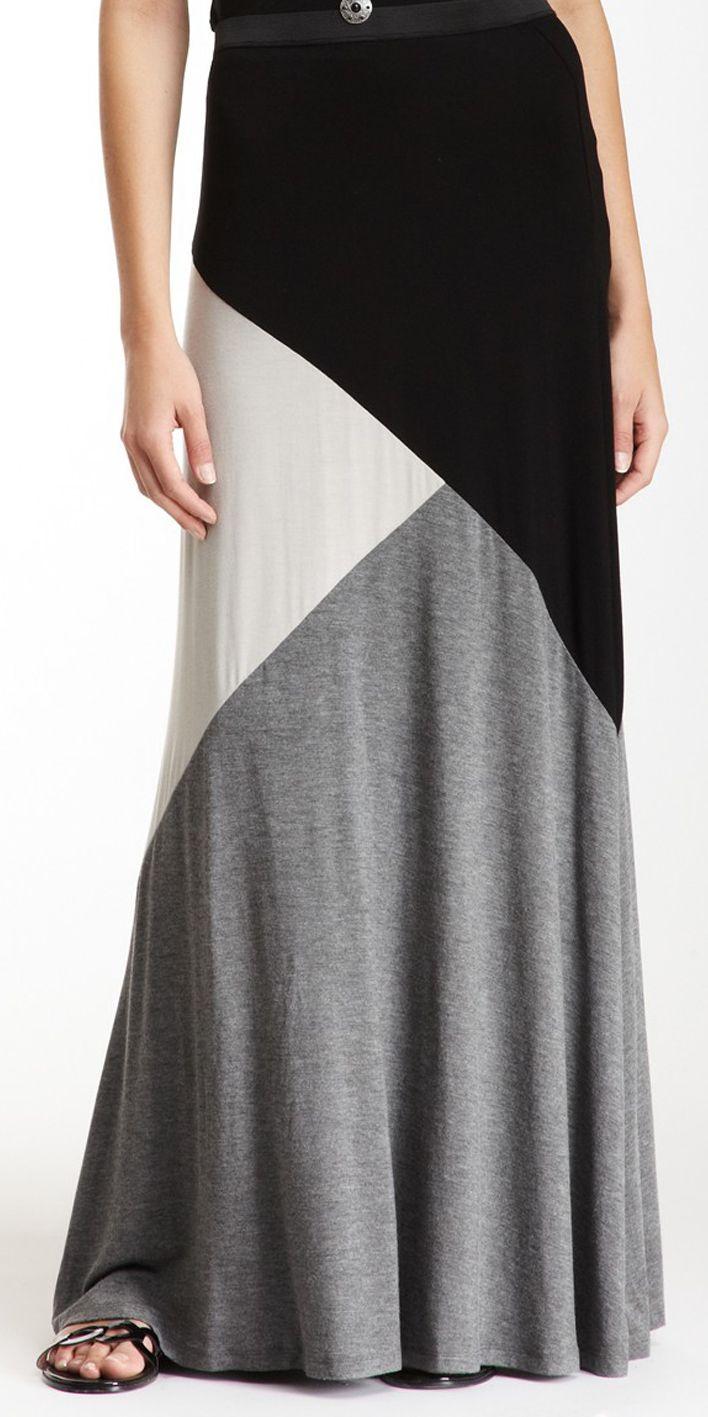 Colorblock Jersey Maxi Skirt