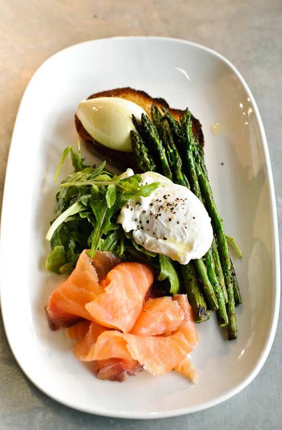 smoked salmon + asparagus + poached egg | @andwhatelse
