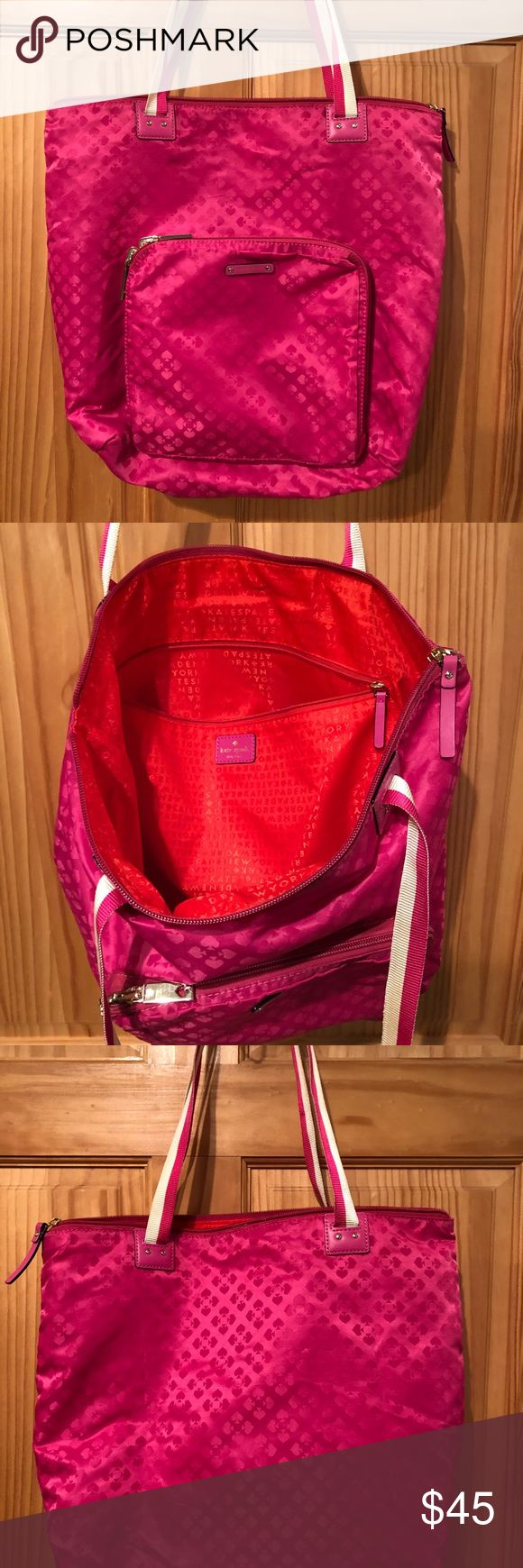 Kate Spade pink nylon tote bag purse Great condition Kate Spade bag. Nylon with zipper and gold accents. Super cute! All my items come from a smoke free home. Thanks for looking! Happy Shopping! kate spade Bags Totes