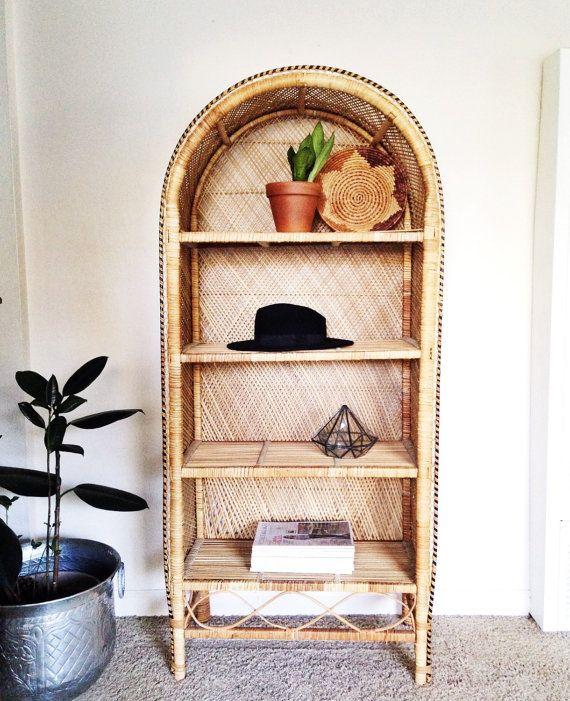 wicker bookshelf vintage etagere boho decor bohemian. Black Bedroom Furniture Sets. Home Design Ideas