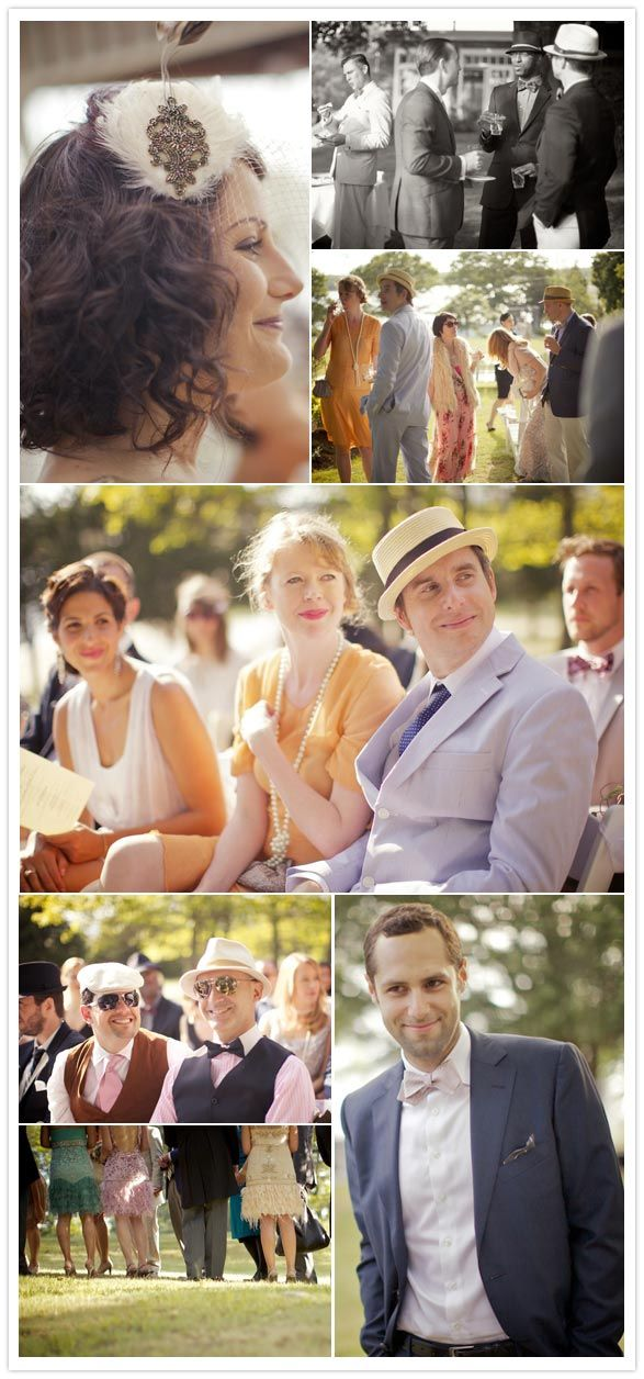 great gatsby wedding, i love this! they managed to get all of the wedding guests in 20's attire!!!