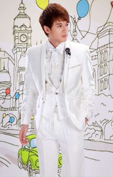 Buy Embellished Lapelled Single Button Groom Suit White with cheapest price Clothing-Dropship.com