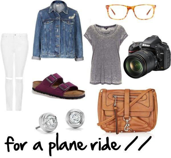 Flight outfit what to wear on a plane casual outfit comfy outfit travel outfit summer outfit white jeans denim jean jacket vneck Birkenstock