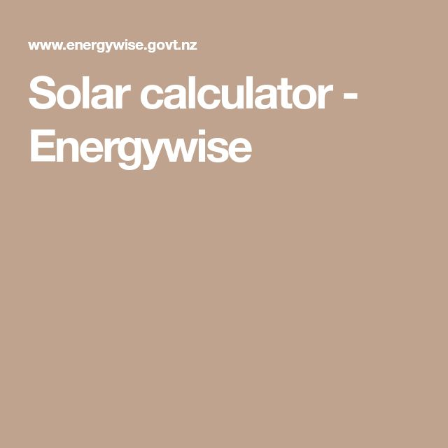 Solar calculator - Energywise