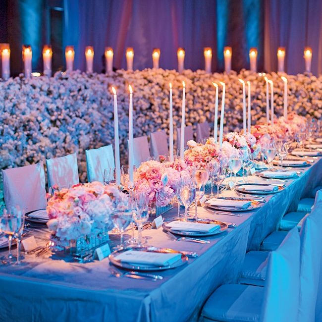 Long Reception Tables With Tall Candles And Rose And Peony Centerpieces. //  Photo: