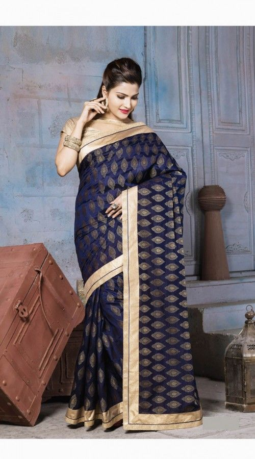 Graceful Dark Blue Nylon Banarsi Zari Jacquard Saree With Golden Border SI990641 Outstanding dark blue nylon banarsi zari jacquard border saree which is imposingly made with lace work. This attire comes with matching blouse piece. The blouse of this saree can be stitched in the maximum bust size of 42 inches.