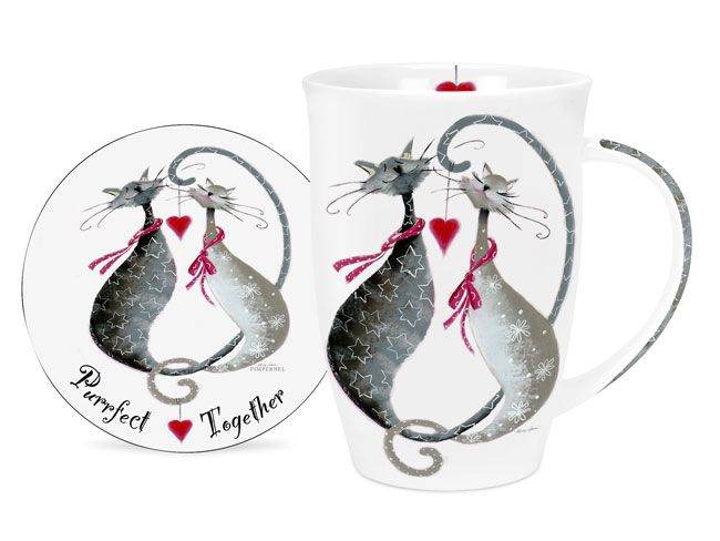 Pimpernel Cats Purrfect Together Single Mug and Coaster Set